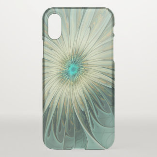 Modern Abstract Fantasy Flower Turquoise Wheat iPhone X Case