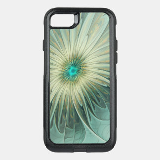 Modern Abstract Fantasy Flower Turquoise Wheat OtterBox Commuter iPhone 8/7 Case