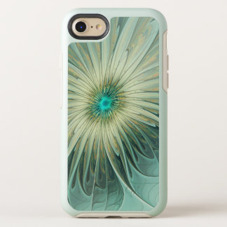 Modern Abstract Fantasy Flower Turquoise Wheat OtterBox Symmetry iPhone 8/7 Case