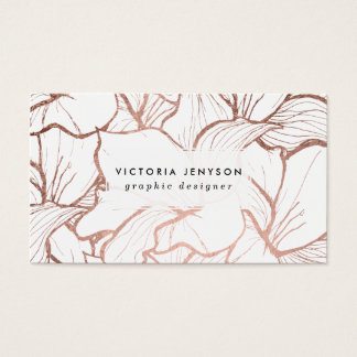 Modern abstract faux rose gold flowers pattern business card