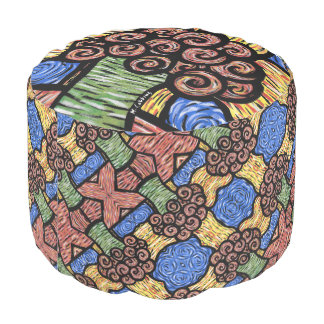 Modern Abstract Floral Design Pouf