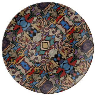 Modern Abstract Floral Pattern Plate
