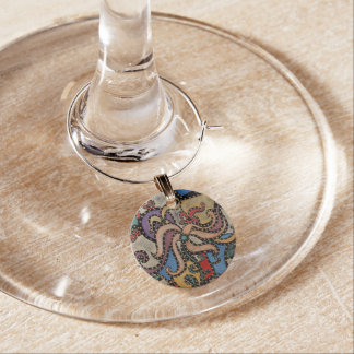 Modern Abstract Flower Wine Charm