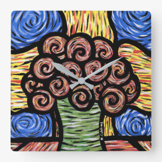 Modern Abstract Flowers In Vase Square Wall Clock