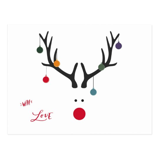 Modern abstract funny Christmas reindeer baubles Postcard
