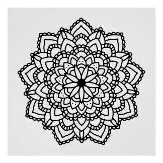 Modern Abstract Geometric Black Mandala Poster