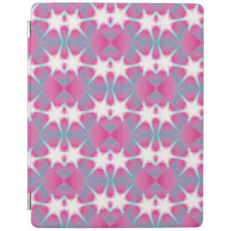 Modern abstract geometrical pink teal star pattern iPad cover