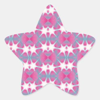 Modern abstract geometrical pink teal star pattern star sticker