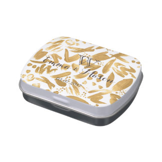 Modern abstract gold strokes paint jelly belly tins