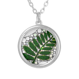 Modern Abstract Green Leaf Round Pendant Necklace