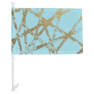 Modern,abstract,hand painted, gold lines turquoise car flag