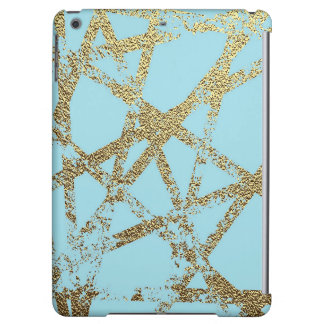 Modern,abstract,hand painted, gold lines turquoise cover for iPad air