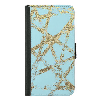 Modern,abstract,hand painted, gold lines turquoise samsung galaxy s5 wallet case