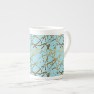 Modern,abstract,hand painted, gold lines turquoise tea cup