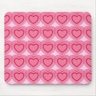 Modern Abstract Hearts - Azalea Pink Mouse Pad