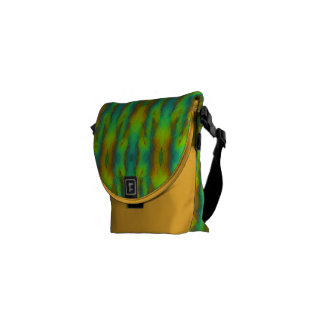 Modern Abstract in Vibrant Green and Yellow Courier Bags