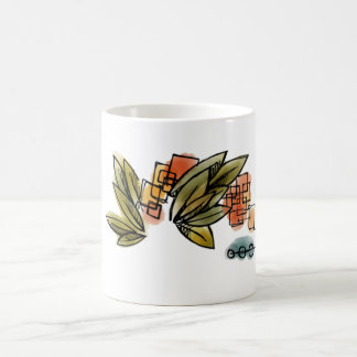 Modern Abstract Leaves - Classic White Mug
