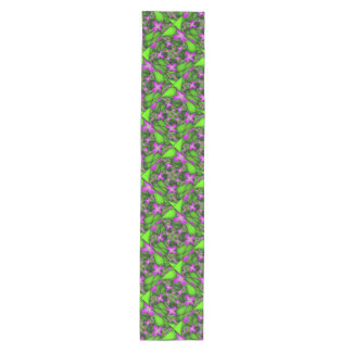 Modern Abstract Neon Pink Green Fractal Flowers