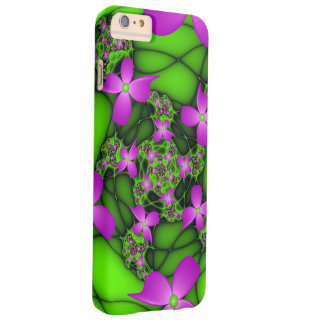 Modern Abstract Neon Pink Green Fractal Flowers Barely There iPhone 6 Plus Case