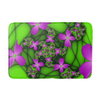 Modern Abstract Neon Pink Green Fractal Flowers Bath Mats
