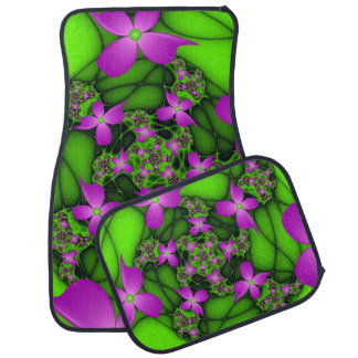 Modern Abstract Neon Pink Green Fractal Flowers Car Mat