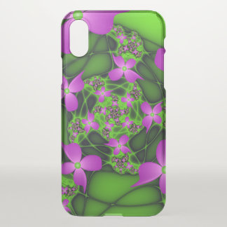Modern Abstract Neon Pink Green Fractal Flowers iPhone X Case