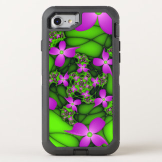 Modern Abstract Neon Pink Green Fractal Flowers OtterBox Defender iPhone 8/7 Case