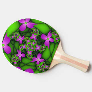 Modern Abstract Neon Pink Green Fractal Flowers Ping Pong Paddle
