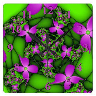 Modern Abstract Neon Pink Green Fractal Flowers Wallclock