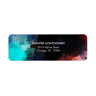 Modern Abstract Paint Splatters Black Orange Blue Return Address Label