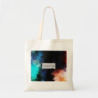 Modern Abstract Paint Splatters Black Orange Blue Tote Bag