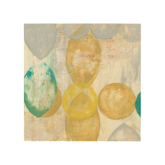 Modern Abstract Painting on Newsprint Wood Print