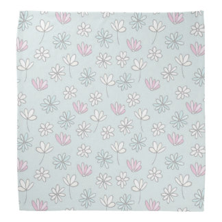 Modern abstract pastel pink blue trendy floral bandana