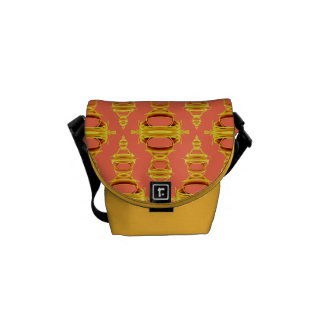 Modern Abstract Pattern Dividers 03 Gold Salmon Messenger Bags