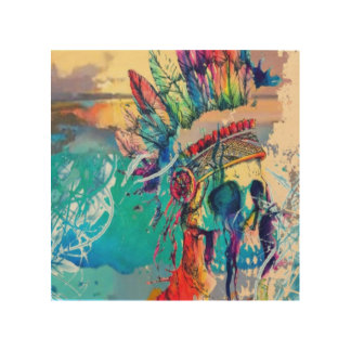 Modern Abstract Rainbow Chief Skull print