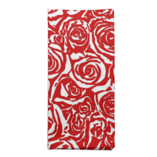 Modern Abstract Rose Pattern, Dark Red and White Napkin