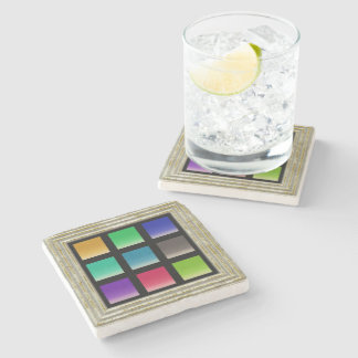 Modern Abstract Squares Pattern Stone Coaster