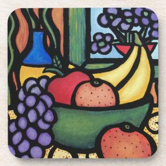 Modern Abstract Still Life Fruit Bowl Coaster