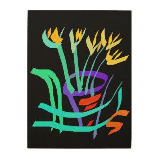 Modern Abstract Still Life Yellow Potted Flowers Wood Prints