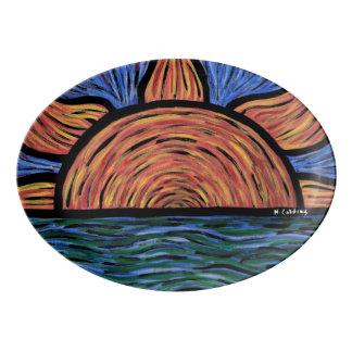 Modern Abstract Sunrise Orange And Blue Porcelain Serving Platter