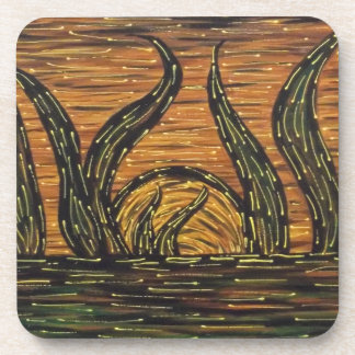Modern Abstract Sunset Coaster