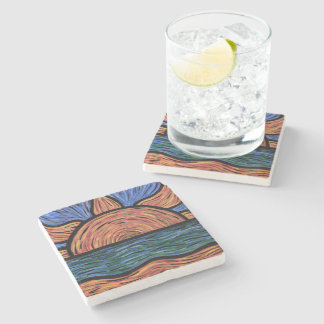 Modern Abstract Sunset Colors In Motion Stone Coaster