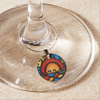 Modern Abstract Sunset Wine Charm