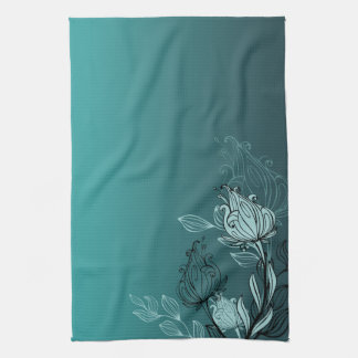 Modern Abstract Teal Floral Hand Towel