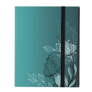Modern Abstract Teal Floral iPad Folio Case