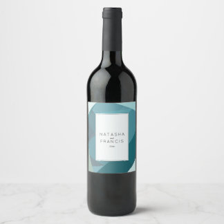 Modern, Abstract Teal Wine Label