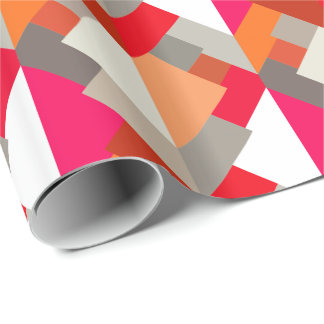 Modern Abstract Triangles, Orange, Fuchsia, & Gray Wrapping Paper