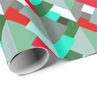 Modern Abstract Triangles, Turquoise, Red, & Gray Wrapping Paper