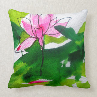 Modern abstract waterlily watercolour art throw pillow