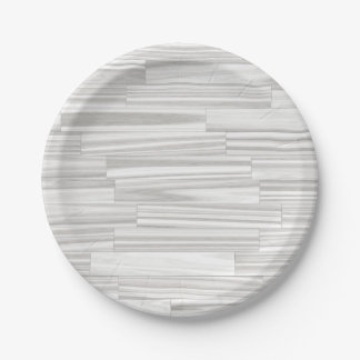 Modern abstract white gray wood grain pattern paper plate